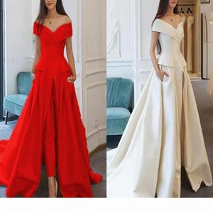 Elegant Jumpsuit Evening Formal Dresses 2020 Overskirt Off Shoulders Satin Pant Suit Prom Party Gowns Sweep Train Dubai Abaya Kaftan Dress