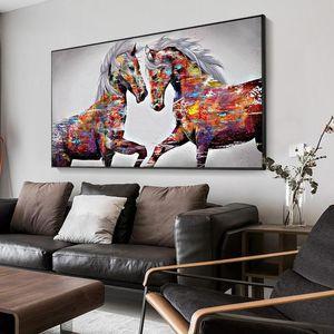 Ахах холст живопись животных стены искусства лошади живопись льва тигр масло настенный плакат и принт для гостиной домашнего декора