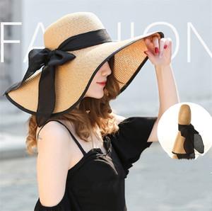 Foldable Lady beach straw hats Sun Hat Ladies Wide Brim Straw Hats Outdoor Foldable Beach Panama Hats Church Hat ZC009