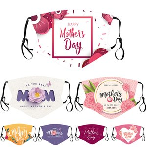Designers Hommes Femmes Masque Masque Adulte Couple Happy Mother Day Day Party Masques à la poussière Maman Imprimé Maman Réglable Bouche Facem