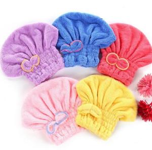 새로운 도착 홈 섬유 유용한 마른 머리 모자 마이크로 화이버 헤어 터번 빨리 마른 머리 모자 포장 수건 목욕 모자 도매
