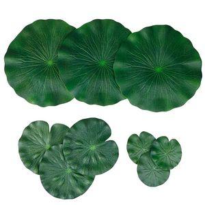 Paquet de 9 Lotus de mousse flottante artificielle Feuilles de lys nénuphars d'eau ornements Vert | Parfait pour Patio Koi Piscine Pool Piscine Aquariu