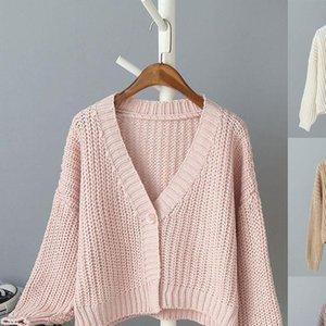 Maglia maglione sciolto Tops Womens Fashion Solid Color Deep Neck Neck Top Manica lunga Calda Lazy Vento femminile Top lungo
