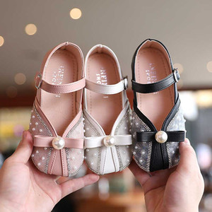 Child Spring Shoes 2021 Girls Buckle Mary Jane Princess Shoes Baby Kids Baby Kids Beautiful Dazzling Dance Dresses Shoe 21-36 Pink #YY-621
