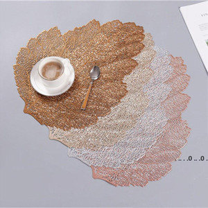 Hollow Leaf PVC Placemats Simulation Plant Dining Table Mats Cup Coasters Insulation Pad Waterproof Disc Bowl Pads Desktop EWB5211