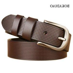 Bokadiao Hombre Cuero genuino Moda Aleación Pin Hebilla Jeans Cinturón Black Cow DISEÑADOR DE LUJO Cinturones para hombres de alta calidad