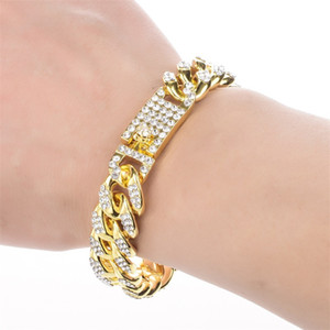 Men's Bracelet Hip Hop Miami Cuban Link Gold Silver Color Iced Out Paved Rhinestones Male Wristband Street Jewelry 106 U2