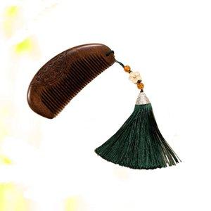 Peinado antiestático Peinado Sandalia Sandalia Exquisita Plum Flores de tallado Peine Tassel para (verde)