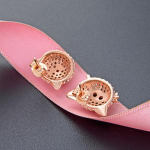 Asymmetric Pig S925 Silver Diamond Stud Earrings Electroplated Rose Gold Sweet Fresh Earrings Week Earrings