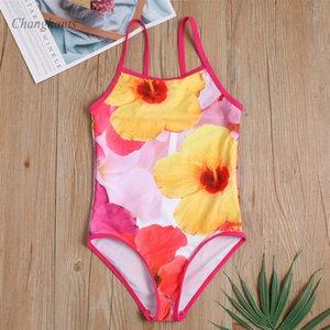 Girls One Piece Swimsuit Kids Swimwear 4-14 Y Children Bathing Suit with Flower Pattern Baby Sandy Beachwear Teen Swim