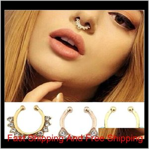100Pcs Lot Hot Sale Crystal Fake Septum Nose Rings Piercing Clip On Body Jewelry Faux Hoop Ladies Nose Studs For Women Fashion Jewelry J4Cje
