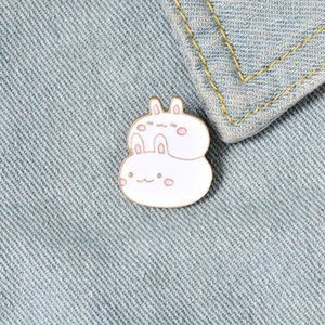 Fat Bunny Enamel Pins Custom Cute Stacked Rabbits Brooch Lapel Pin Shirt Bag Badge Cartoon Animal Jewelry Gift for Kids Friends