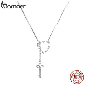 BAMOER 925 Plata esterlina Key Key of Heart Lock Link Cadena Collares Colgantes Mujeres Luxury Sterling Silver Jewelry SCN107 0208