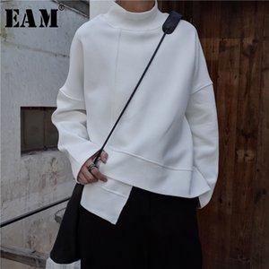 [EAM] Yeni Bahar Yüksek Yaka Uzun Kollu Siyah Gevşek Düzensiz Hem Büyük Boy Kazak Kadın Moda Gelgit JK800 201109