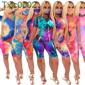 Femme Two Piece Set Tie Teinture T-shirt TrackSuit Designer 2021 Summer imprimé Shorts Shorts Tenues de tenue de jogging de mode