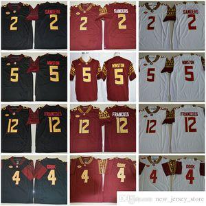 Florida State Seminoles College 2 Deion Sanders 4 Dalvin Cook 5 Jameis Winston 12 Deondre Francois Red White Black NCAA FSU Football Jersey