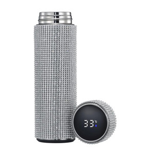500 ml Diamante Creativo Thermos Botella de agua Botella de agua Acero inoxidable Smart Tempere Pantalla Vacuum Frasco Taza Regalo para hombres Mujeres con caja