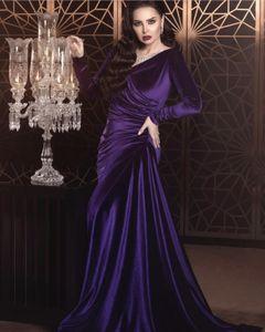 Purple Evening Dresses for Women Mermaid Wear Prom Dress Middle East Dubai Caftan Pockets Arabic Party Gowns Long Sleeves Pleats