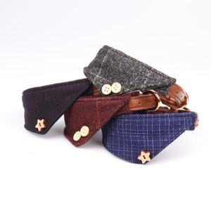 Plaid Triangle Puppy Collars for Small Dogs Adjustable Puppy Leather Collar Cute Plaid Bandana with Button Decor Dog Collar Gifts SN2449