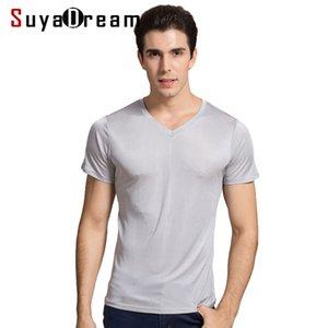 SUYADEREAM HOMME T-shirt Basic T-shirt Naturel Soie V ec col solide Chemises à manches courtes Blanc noir Gris Printemps Top 210301