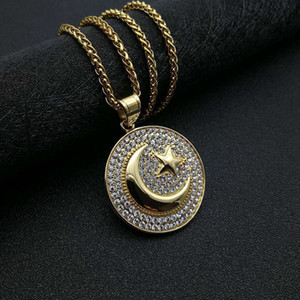 Hip Hop Hiphop Jewelry Titanium Steel Gold Plated Muslim Star Moon War Flag Pendant Necklace