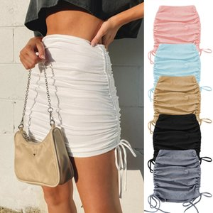 New Spring And Autumn Womens Knitted Threaded Side Drawstring Elastic Wrinkle Skirt Sexy Slim Adjustable Hip Skirt