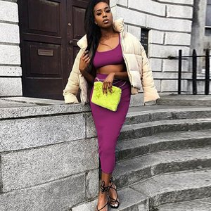 Set Summer Two Piece Women Solid Color Crop Top and Long Skirts Matching Sets Party Club 2 Piece Casual Sexy Outfits