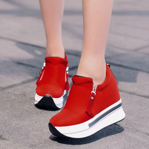 Women Canvas Shoes Sneakers Woman Wedge Autumn Solid Color Female Casual Shoes Comfortable Platform Sneakers Slip On Woman O5iF#