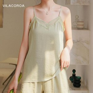 Women's Tanks & Camis Pure Color Lace Stitching Sling Women Clothing V-Neck Sexy Sleeveless Backless Camisoles Casual Thin Korean Vest Femal