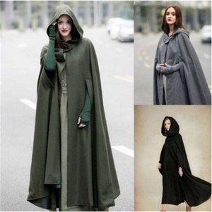 Womens Cape Cappuccio con cappuccio Cloak Solid Color Cardigan Lunghi Cappotti Cutton Blend Capispalla Ledies Grottaggio Gloaks