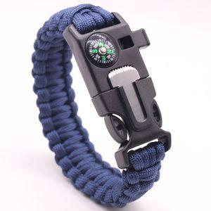 2021 Seven core knitting survival whistle flint large compass umbrella rope life saving bracelet Outdoor sports