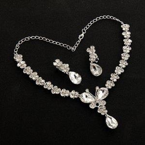 Necklace Water Drop Diamond Earrings 2-piece New Women's Bridal Set