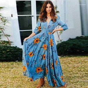 Floral Impressão Feminina Contraste Color Dresses Womens Designer Bohemian Vestido Moda V Pescoço Três Quarter Sleeve Botão Vestido