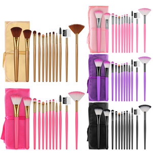 New 12pcs Makeup Brushes Set Powder Eye Shadow Foundation Powder Blush Lip Make Up Brush Brushes With Bag