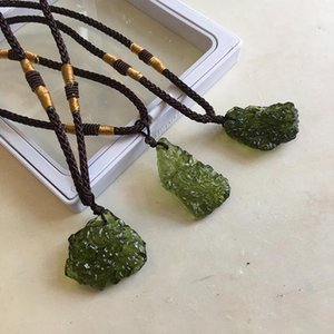 Natural Moldavite necklace for women handmade irregular Crushed crystal stone necklace green