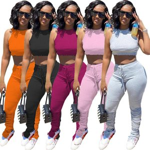Women Set Two Pieces Sets Tracksuits Sleeveless Crop T-shirt & Skinny Stacked Leggings Pants Suit Fitness Outfits Matching Set