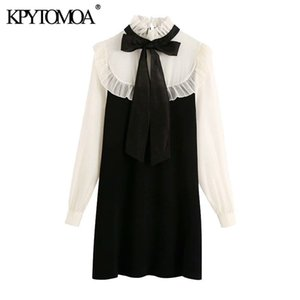 KPYTOMOA Women Fashion With Tied Organza Patchwork Knitted Mini Dress Vintage High Collar Long Sleeve Female Dresses Mujer 210222