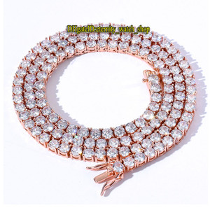 European and American hip-hop 3mm Rose Gold CZ diamond tennis chain mens Iced Out diamond bracelet necklace couple tennis chain eternity