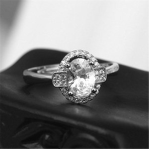 Cluster Rings Silver Ring Fashion Exquisite Temperament Female Inlaid Zircon Hand Jewelry