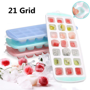 21 Grid Ice Tray with Lid DIY Ice Cube Mold Square Shape Ice Cream Maker Kitchen Bar Accessories