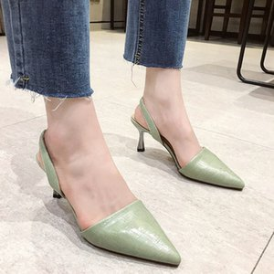 High Heel Slingback Sandals Women Pointed Toe Pumps Summer Fashion Closed Toe Sandals Women Office Shoes Beige Yellow Green Boots Shoe S2SG#