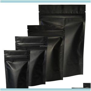 Ambalaj Ofis Okul Iş SanayiHigh Kalite 100 adet Isı Mühür Zip Kilidi Paket Çanta Alüminyum Folyo Mylar Yırtık Çentik Mat Siyah ST