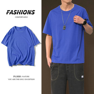 2021 Top quality Summer Cotton T-shirt Men's Fashion Solid Color Casual O-neck t Shirt Men Streetwear Short-sleeved Tshirt Mens 0JY5