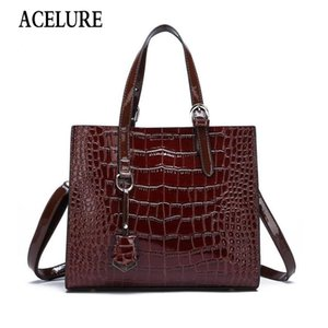 ACELURE Alligator PU Leather Shoulder Bags For Women Solid Color High-Capacity Beautiful Ladies Messenger Bags All-Match Handbag
