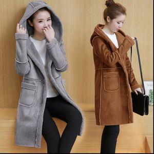 Winter Fall Women Fleece Lined Hooded Suede Long Coat Female Korean Loose Faux Leahter Jakcet Ladies Faux Fur Winterbreaker