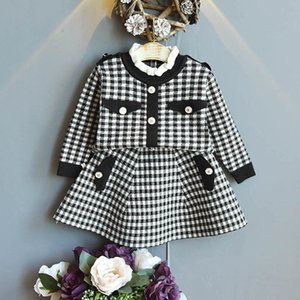 Autumn Winter Girls Outfits Fashion Kids Suits Knitted Sweater Tops+Skirts 2Pcs Sets Children Clothes 2-6Y SM028