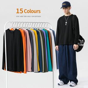 2021 Fashion Men Women Solid Color T-shirt Autumn Long Sleeve t Shirt Mens Plain Cotton Oversized Tshirt Tops Tees Koszulka 4enn