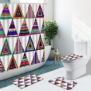 Shower Curtains Geometric Retro Pattern Curtain Stripes Dots Non-Slip Rugs Flannel Bath Mat Toilet Cover Bathroom Set Home Decor Washable