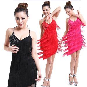Stage Wear Women Sexy Tassel Latin Dress Tiered Fringe Flapper Evening Nightclub Dancing Fancy Costumes