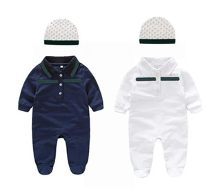 New Fashion 2021 baby Boys Girls Striped Rompers hat Infant Summer children Toddler Jumpsuits Kids Cotton Turn-Down Collar Onesies coverall
